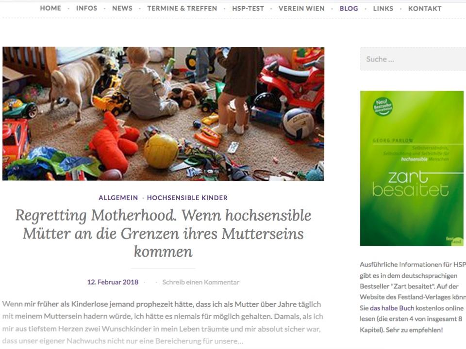Gastbeitrag auf Zartbesaitet.net zum Thema Regretting Motherhood